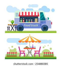 Food delivery. Picnic. Mobile cafe in nature. Truck with food. Outdoor recreation. Vector flat illustration