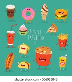 food delivery, pizza, beer, hamburger, french fries, donut, ice cream, chicken legs, sandwich, tacos, hot dog, french fries, coca cola, cake. Funny fast food set.
