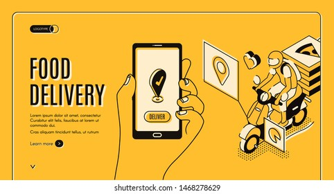 Food delivery service isometric landing page. Mobile city bike transportation, Online shipping application, hand hold smartphone with gps mark on screen, 3d vector illustration, line art, web banner