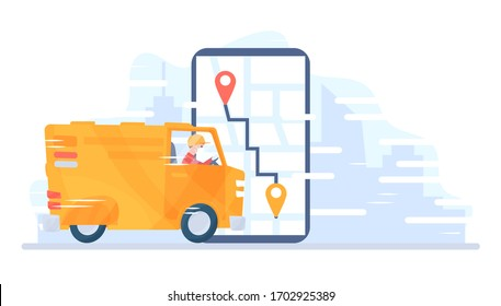 Food delivery service. Man riding a delivery van. Online pizza order. A courier guy on a truck carries a parcel. Vector concept product goods fast shipping transport. Cartoon Flat style