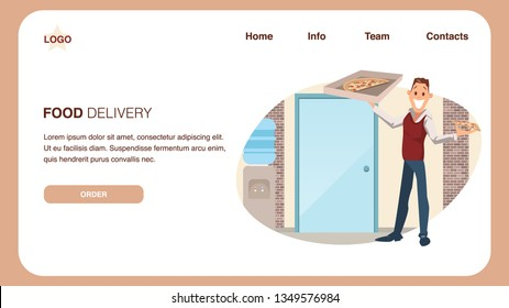 Food Delivery Service. Pizza for Lunch at Office. Smiling Coworker Stand with Cardboard Box. Happy Young Businessman Plan to Have Slice of Junkfood for Break. Cartoon Flat Vector Illustration