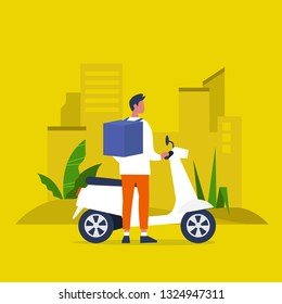 Food delivery service. Young male courier with a large backpack riding a motor bike. Flat editable vector illustration, clip art