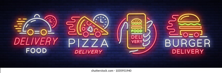 Food delivery set neon signs. Logotype collection in neon style, light banner, bright night advertising for delivery food for restaurant, pizzerias, cafes, dining. Burger, Pizza. Vector illustration