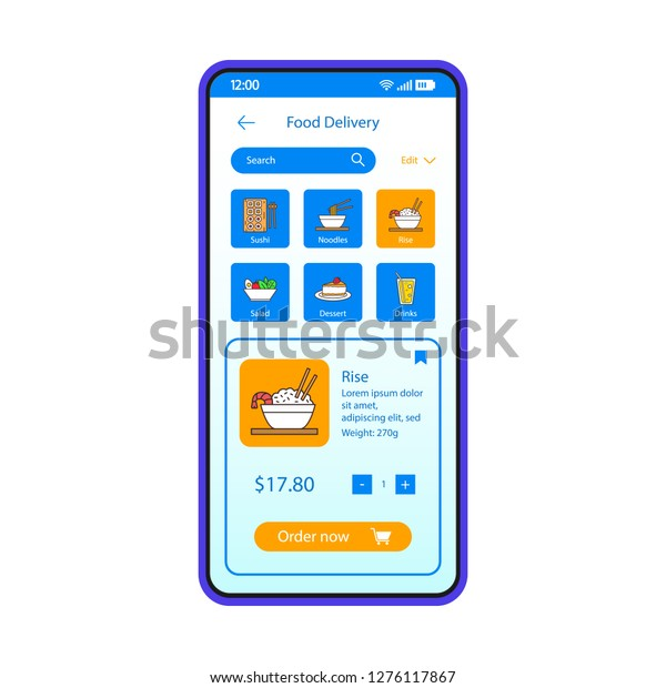 Food Delivery Smartphone App Interface Vector Stock Vector