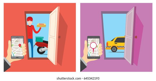 Food Delivery and Taxi Tracking App vector illustration