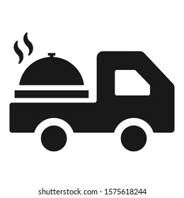 Food delivery truck icon. Vector graphics.