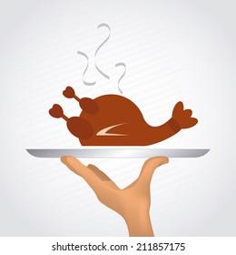 Food design over gray background, vector illustration