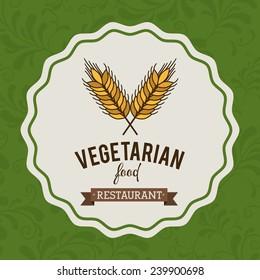 Food design over green background,vector illustration.