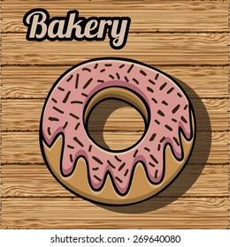 Food design over wood background, vector illustration