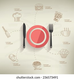 Food design,info graphic on old paper background,clean vector