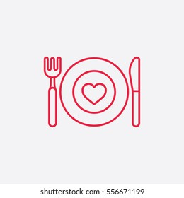 food dinning kitchen menu restaurant line icon red on white background