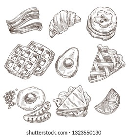 Food dishes breakfast meals isolated sketch vector cooking dish bacon and croissant pancakes with jam and apple pie avocado and waffles fried eggs with peas and sausages sandwich and lemon slice