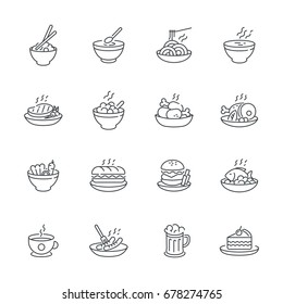 Food dishes icon set isolated on white background, vector meal icons outline style.