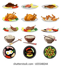 Food dishes set: fish, chicken, meat, rice, vegetables. Vector illustration.