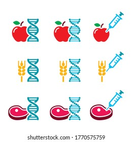 Food DNA, genetically modified food GMO vector color icon set. Vector icons set of food DNA, food products with syringe  isolated on white