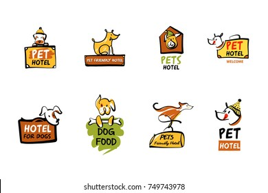 Food dog. Pet friendly hotel. Template vector logo with image of dog isolated on white background. Sketch vector illustration.