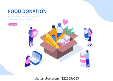 Food donation concept with character. Can use for web banner, infographics, hero images. Flat isometric vector illustration isolated on white background.