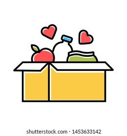 Food donations color icon. Charity food collection. Box with meal, hearts. Humanitarian assistance. Volunteer activity. Helping people in need. Hunger support program. Isolated vector illustration