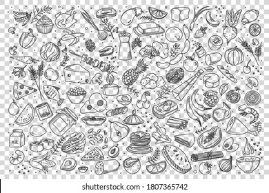 Food doodle set. Collection of hand drawn sketches templates of various different kind of meal. Meat pizza fish and fast food burger sandwitch or healthy vegetables and fruits illustration.