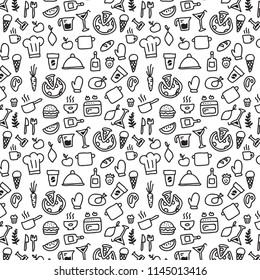 Food doodles hand drawn sketchy vector background