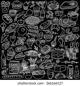 food doodles set on chalkboard