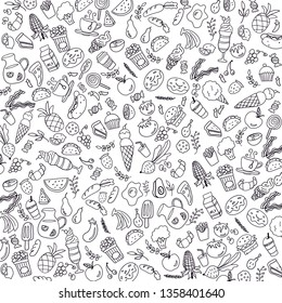 Food drawing, black & white vector, doodle, pattern, background