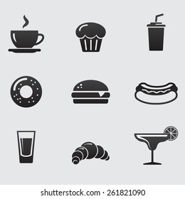 Food and drink. Bar offer icon collection. Vector art.