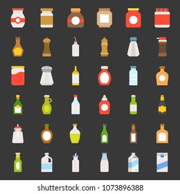 Food and drink container flat icon, such as salt shaker, olive oil bottle, peanut butter jar, jam glass bottle, milk carton, maple syrup, sauce, wine, soy sauce