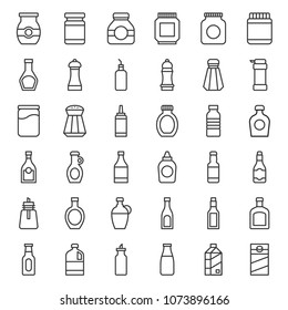 Food and drink container outline icon, such as salt shaker, olive oil bottle, peanut butter jar, jam glass bottle, milk carton, maple syrup, sauce, wine, soy sauce