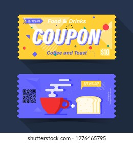 Food and drink coupon ticket card. Coffee and toast element template for graphics design. Vector illustration