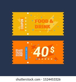 Food and drink coupon ticket graphics design Vector illustration