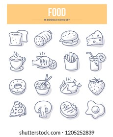 Food & drink doodle vector icons for website and printing materials