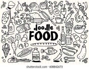 food and drink  doodles elements sketch background. Vector illustration
