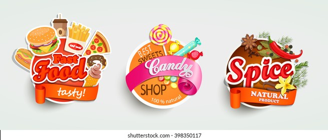 Food and drink elements, Typographical Design Label or Sticker - burgers, pizza, beer, bakery, BBQ, sweet baked, spice. Vector illustration.