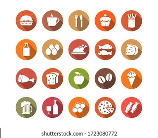 Food and drink flat icons set. Vector illustration