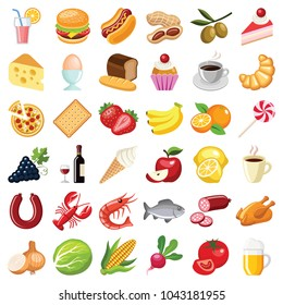 Food and drink icon collection - vector color illustration