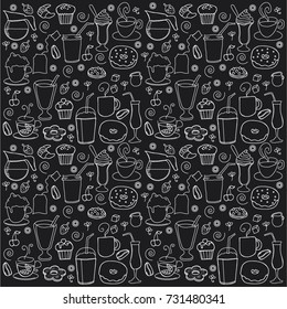 FOOD AND DRINK, ICON DOODLES, PATTERN BACKGROUND DESIGN. White lines on black. Repeated vector illustration.