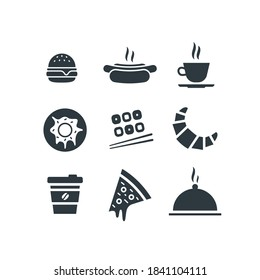 Food and drink icon set. Vector flat design web icons illustration. Hamburger, hot dog, cup of coffee or tea, donut, sushi, croissant, takeaway coffee, slice of pizza and dish tray with cloche lid.