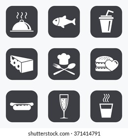 Food, drink icons. Alcohol, fish and burger signs. Hot dog, cheese and restaurant symbols. Flat square buttons with rounded corners.
