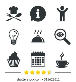 Food and drink icons. Muffin cupcake symbol. Fork and spoon with Chef hat sign. Hot coffee cup. Food platter serving. Information, light bulb and calendar. Investigate magnifier. Vector