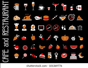 food and drink icons set for black background