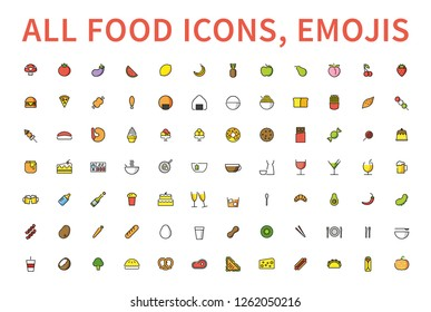 Food and Drink icons set. Colored Line Stroke Food Icons. Meat, milk, seafood, pasta, soup, bread, sweets, fruits, vegetables, drinks, nutrition, pizza vector emoticons, symbols.