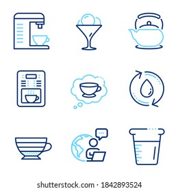 Food and drink icons set. Included icon as Cooking beaker, Cappuccino, Refill water signs. Ice cream, Coffee maker, Coffee cup symbols. Teapot line icons. Water, Recycle aqua. Line icons set. Vector