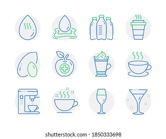 Food and drink icons set. Included icon as Wineglass, Medical food, Cappuccino signs. Water splash, Water bottles, Coffee cup symbols. Peanut, Takeaway, Latte coffee. Cocktail line icons. Vector