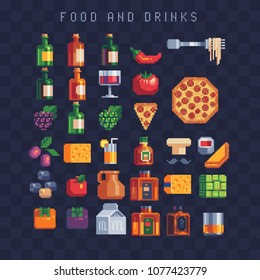 Food and drink icons set pizza, empanada, cup tea, cheese, rice dumpling, alcoholic beverage bottle wine and glass, vegetable. Isolated vector pixel art 80s style illustration. Design for logo and app