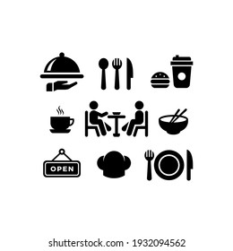 food and drink icons set vector graphic illustration, suitable for restaurants, canteens, cafes, etc.