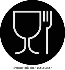 food and drink inside black circle, sign with glass and fork icon.