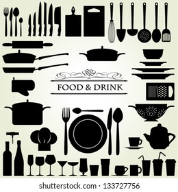 Food and Drink kitchen utensils isolated - vector