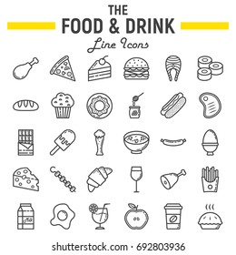 Food and drink line icon set, meal symbols collection, vector sketches, logo illustrations, signs linear pictograms package isolated on white background, eps 10.