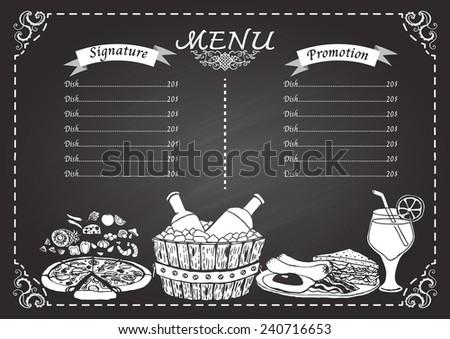 Food And Drink Menu On Chalkboard Design Template